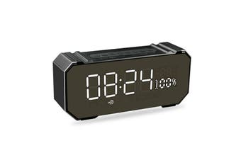 LED Display Wireless bluetooth Speaker Alarm Clock FM Radio USB Port Bass Speaker Black(black)(Classic Black)
