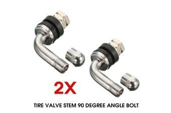 1pcs/2pcs 90 DEGREE ANGLE METAL/CHROME WHEELS TIRE VALVE STEMS HIGH PRESSURE BOLT-IN(1pc)