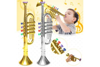 Toy Trumpet 4 Colored Keys Musical Instrument Practical Gift for Kid Children(silver)