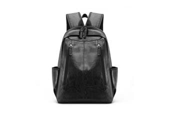 Double zipper PU leather men and women backpack bag shoulder bag computer bag(black)