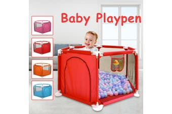 Baby Playpen Fence 6 Panel Safety Barrier Children Playpen Game Tent Barrier (red)(1PC red Playpen)