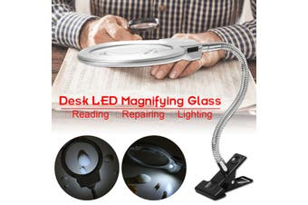 2in1 90mm 5X & 22mm 2.5X Desk Magnifier Magnifying Glass +2 LED Light + Clamp(silver)(S)