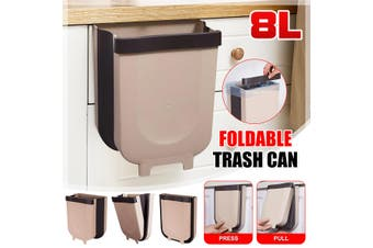 Foldable Kitchen Cabinet Door Hanging Trash Can Wall-mounted Waste Baskets Push-top Trash Garbage Bin Can Rubbish Container(coffee)(8L Capacity)