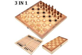 3 IN 1 Kids Folding Chessboard Wood Chess Board Box Portable Game Toy Puzzle Set(style2)