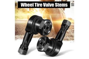 2pcs Universal Motorcycle 90 Degree Rim Wheel Tire Valve Stems Caps Cover 11.3mm CNC Aluminum(black)