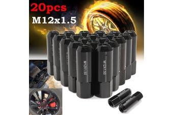 M12X1.25 Aluminum Extended Tuner Wheel Lug Nuts for Toyota for Nissan Wheels Rims 20pcs/1set(black)
