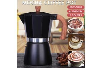 150ml/300ml Mocha Coffee Pot Italian Espresso Aluminum Mug Octagonal Coffee Pot Coffee Maker Tool(blue)(150 ml)