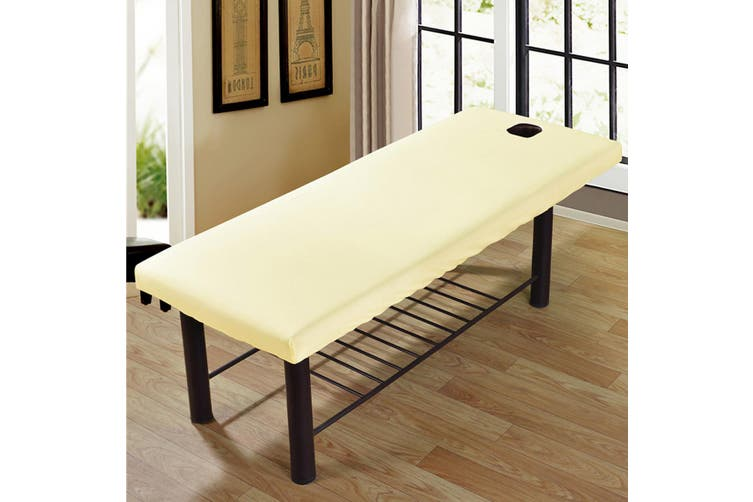 Massage Treatment Bed Cover Washable Polyester Cotton Table Sheet With Face Breath Hole(beige)(1PC)