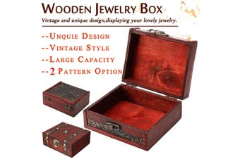 Grape Leaf Pattern Cute Retro Wooden Jewelry Box Storage Vintage Treasure Chest Wood Crate Case Gift Box(Type1)
