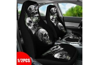 1/2 pcs Universal Car Seat Cover Seat Covers Skull Pattern Schooner Seat Covers Car Set SUMMER Cool Seat Covers(black)(Skull 2PCS)