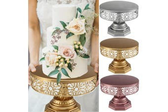 12-Inch WEDDING CAKE STAND Round Metal Event Party Display Pedestal Plate Tower(rosegold)(Dia 25cm/PC)