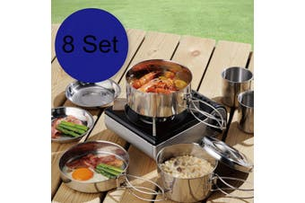 8 Pcs Outdoor Camping Backpacking Cooking Picnic Pot Pan Plate Cup Set Cookware