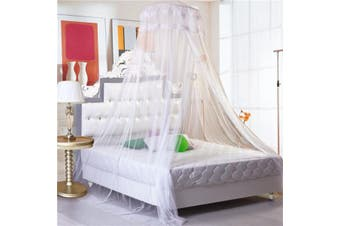 Queen Size Cotton Round Dome Princess Bedding Hanging Canopy Mosquito Net Girl Kids Bedroom(white)