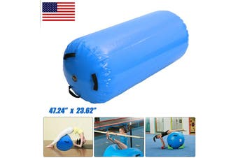 120x60cm Inflatable Training Roller Inflatable Air Cylinder Floor Home Gym Gymnastics Training Tumbling Mat Track Sporting Goods School Home Back Yard Beach Gift(blue)(120x60cm)