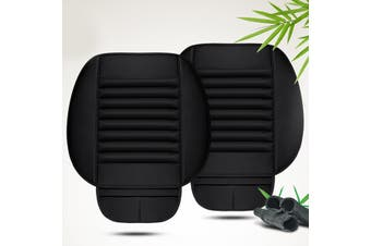 2x Car Front Single Seat Cover Chair Cushion PU Leather Bamboo Charcoal Pad Mat(black)(2pcs front seat cushion)