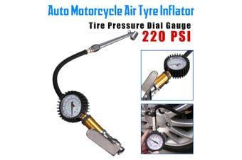 220 PSI Tire Tyre Air Inflator Pressure Gauge Measurement Car Motorbike Truck