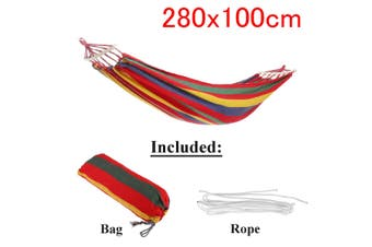 Outdoor Garden Portable Canvas Hammock Travel Camping Swing Hanging Chair Bed(red)(Type A Hammock with Wooden stick(280x100cm))