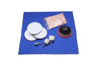 8 peices Glass Cerium Oxide Powder + 3'' Wheel + Felt Scrach Remover Polishing Kit