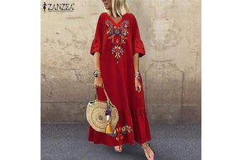 ZANZEA Womens Floral V Neck Long Beach Dress Ladies Holiday Sundress Party Dresses(red)(L)