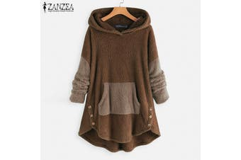 ZANZEA Women Hoodies Casual Asymmetrical Jumper Sweaters Hooded Hoody Tops Shirt(brown)(2XL)