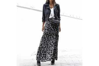 Vintage Fashion Ladies Elastic Waist Leopard Print Skirts Loose Long Skirt(grey)(2XL)