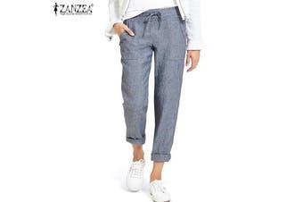 ZANZEA Women Casual Long Pants Elastic Waist Plain Solid Harem Pants Trousers(lightblue)(2XL)