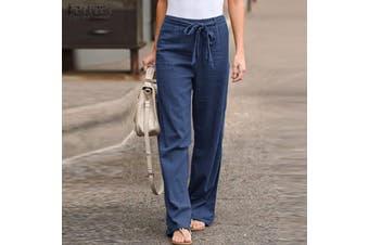 ZANZEA Womens Palazzo Pants Ladies Wide Leg Bottoms Summer Beach Casual Trousers(blue)(3XL)