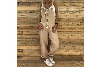 Esolo ZANZEA Women Cotton Linen Causal Loose Baggy Sleeveless Strappy Jumpsuits Trouses Pants(khaki)(5XL)