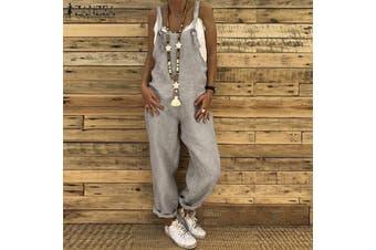 Esolo ZANZEA Women Cotton Linen Causal Loose Baggy Sleeveless Strappy Jumpsuits Trouses Pants(grey)(5XL)