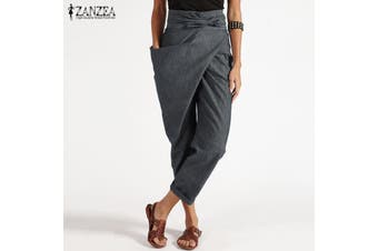 ZANZEA Women Zip Up Belt Tie Plus Size Trousers Ladies High Waist Pants(grey)(4XL)