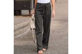 ZANZEA Womens Palazzo Pants Ladies Wide Leg Bottoms Summer Beach Casual Trousers(grey)(L)