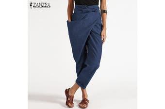 ZANZEA Women Zipper Belt Harem Pant Ladies Casual Baggy Irregular Trousers Plus Size(blue)(2XL)