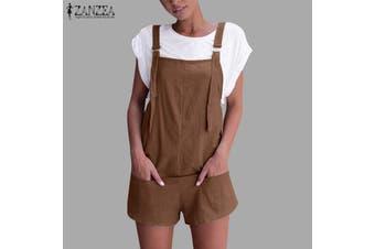 Esolo ZANZEA Womens Summer Linen Cotton Jumpsuit Dungarees Pocket Shorts Playsuit Overalls(coffee)(M)