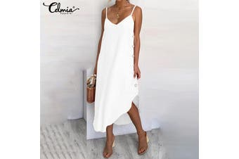 Celmia Womens Summer Sleeveless V Neck Loose Beach Party Asymmetric Sundress Slip Dress(white)(M)