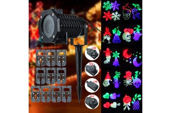 Stage Light Projector LED Moving 10 Patterns Film RGB Landscape Flashlight Lawn Lamp w/ Ground Rod Outdoor Garden Xmas Christmas Halloween Party Decor(multicolor)(AU Plug)