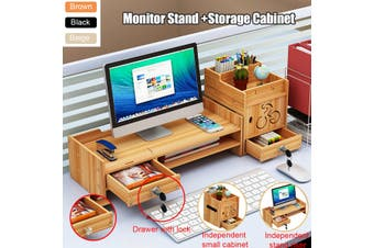 Monitor Riser Adjustable Storage Organizer Keyboard Mouse Holder Desk Organizer Box(brown)(z05-s)