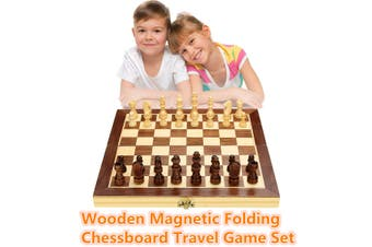 Details about Wood Chess Wooden Magnetic Board Hand Crafted Folding Chessboard Travel Game Set