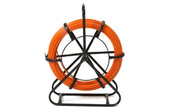 4.5mm 100M Fish Tape Fiberglass Wire Cable Running Rod Duct Rodder Puller(orange)(100m by 4.5mm)