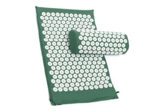 Massage Acupressure Mat Yoga Sit Lying Mats Cut Pain Stress Soreness Relax + Pillow(green)