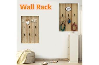 6 Hooks Key Rack Holder Wooden Wall Mount Organizer Key chain Hanger Home Storage(Key)