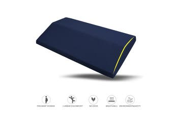 Lumbar Support Wedge Pillow Memory Foam Sleep Bed Cushion Lower Back Pain Relief(navyblue)
