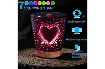 3D LED Light 7 Colors Ultrasonic Aromo Diffuser Oil Mist Humidifier Firework(11 Heart Glass)
