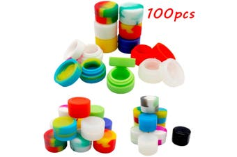 100 Pcs 2ML Round Silicone Non Stick Concentrate Containers Jar Mixed Colors Lot
