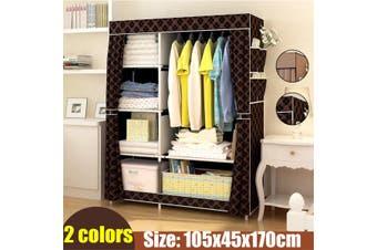 Portable Fabric Canvas Wardrobe Hanging Rail Shelving Storage Closet Organizer(Coffee)