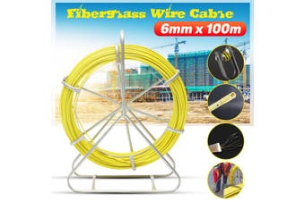 100m Fish Tape Fiberglass Wire Cable Running Rod Duct Rodder Fishtape Puller 6mm(yellow)(6mm by 100m)