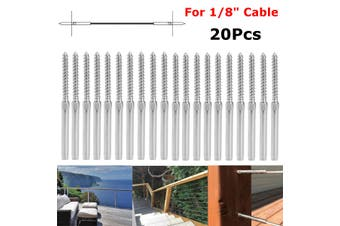 """20Pcs Stainless Steel Swage Lag Screw DIY Rope Balustrade Kit for 1/8"""" Cable"""