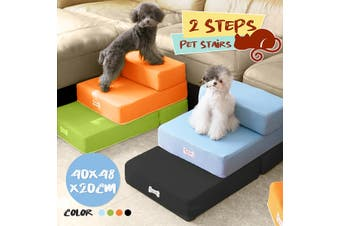 Foldable Pet Stairs Breathable Puppy Ramp 2 Steps Ladder Dog Cat Bed Cushion Mat(orange)(1)