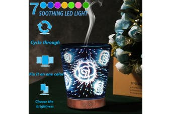 Dry Protecting 7 Color LED Glass Essential Oil Aroma Diffuser 3D Starry Nightlight Christmas Gifts(9)