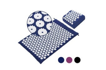 Massage Acupressure Mat Yoga Shakti Sit Lying Mats Release Pain Stress + Pillow(blue)