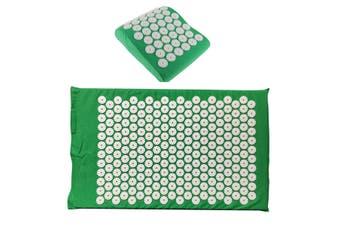 Massage Acupressure Mat Yoga Shakti Sit Lying Mats Release Pain Stress + Pillow(green)